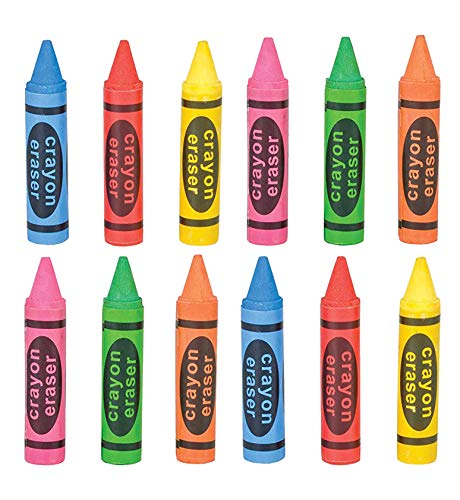 Kidsco Crayon Shaped Erasers - 12 Pack – Great for Party Bags, Fillers and Stuffers – Great for Teachers to Give As A Prize