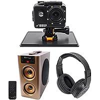 WASPCAM 9941 Wi-Fi Waterproof 4K Camera HD USB Action Cam+Speaker+Headphones