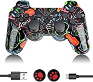PS3 Controller Wireless, PS3 Controller Double Vibration Gamepad Remote Control Joystick Joypad Compatible wit