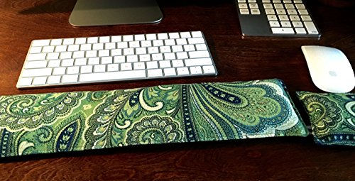 - Lavender Scented Keyboard and Mouse Pad Wrist Rest by Flax Sak® Ergonomic Heating Pad, Green and Navy Paisley.