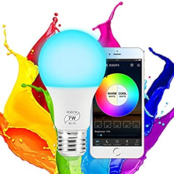 Compatible with Alexa,Google Home and IFTTT Remote//Voice Control No Hub Required,Multicolor Smart LED Light Bulb E27 RGB Color Changing Bulbs
