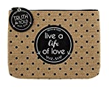 Set of 4 Live A Life of Love Burlap Zipper Pouch