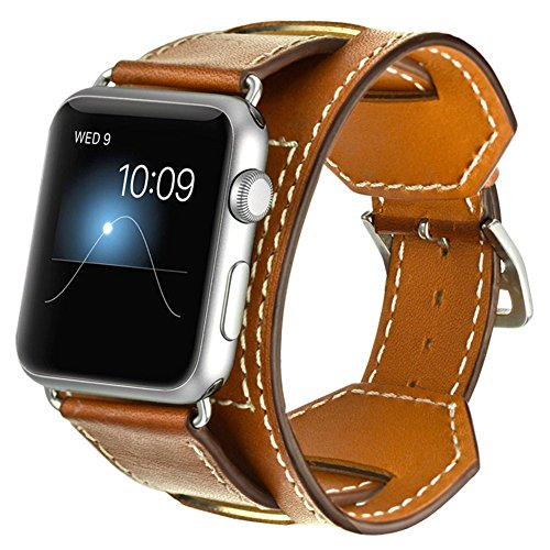 (CHEEDAY Genuine Leather Band iWatch Strap Cuff Bracelet Replacement Wristband Adapter Compatible Apple Watch Series 4 (44mm) Series 3/2/1 (42mm) - Brown)