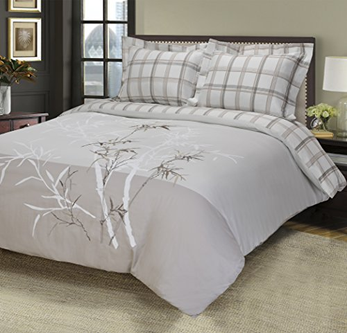 100% Cotton, 3-Piece Full/Queen Single Ply, Soft, Embroidered Elmwood Duvet Cover Set ()