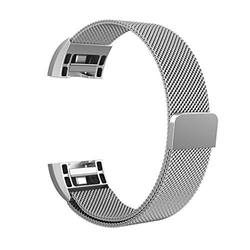 UPC 677306099986, iTerk For Fitbit Charge 2 Bands, Stainless Steel Metal With Magnetic Buckle Milanese Mesh Loop Replacement Wristband Adjustable Small & Large