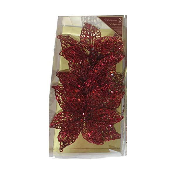 Country Silk Pack of 3 x 7 Inch Clip On Big Christmas or Wedding Decoration Glittered Poinsettia Ornaments, in Acetate Gift Box! (Red)