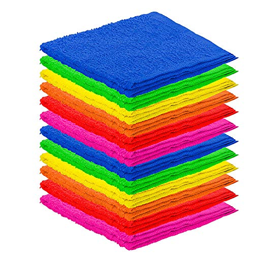 DecorRack 12 Pack Kitchen Wash Cloth, Small Towel, 100% Cotton, 12 x 12 Inch Colorful Dish Cloth, Perfect Cleaning Cloth for Washing Dishes, Kitchen, Bar, Counter and Car, Assorted Colors (Pack of 12)