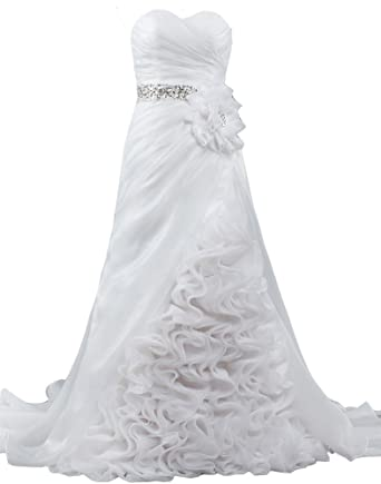 ANTS Vintage Ruffle Organza Wedding Dresses With Flower Crystal Sash ...