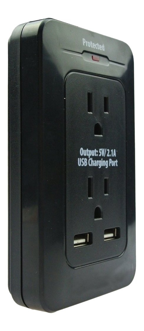 Xtreme Cables 2 Outlet Surge Wall Tap with Dual Port USB Computer Surge Protector, Black (XWS8-0102-BLK)