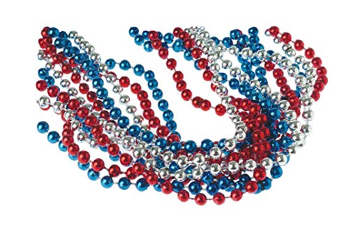 Red, White, & Blue Metallic Necklaces (24-Pack)