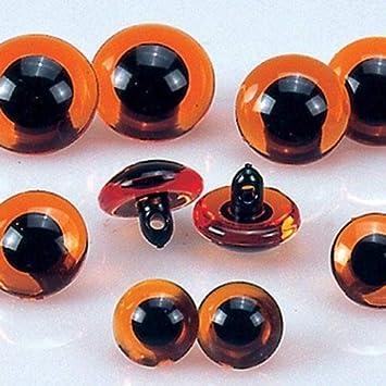 Marr/ón y Negro 2-Piece-p /Animales de Ojos Loop 2-Piece 12 mm Pl/ástico efco/ pl/ástico