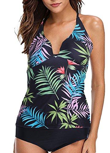 Alistyle Womens 2Pcs Floral Swimsuit Vintage Push up High Waist Beach Swimwear Bikini Bathsuit Large