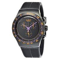Reloj cronógrafo Swatch YOB102 de acero inoxidable con dial negro para hombres