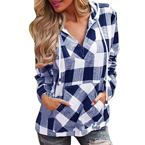 Clearance Sale! Women Long Sleeve Plaid Hoodie Tops Daoroka Ladies Sexy V Neck Pocket Drawstring Pullover Casual Loose Blouse Fashion Autumn Winter Comfort Tunic T Shirt