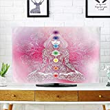Auraisehome Front Flip Top Mystic Female Character with Lace Embellished Lines Solar Balance Bohemian Soft Pink Front Flip Top W35 x H55 INCH/TV 60''