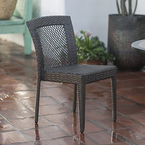 Cheap  All-Weather Wicker Open Patio Dining Chair - Set of 2, The Back..