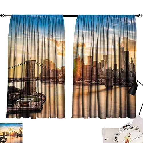 (NYC Decor Exquisite Curtain Cityscape of Brooklyn Bridge and Lower Manhattan Hudson River Center of Fashion Art and Culture 70%-80% Light Shading, 2 Panels,55