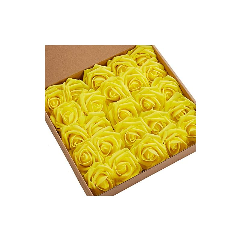 silk flower arrangements n&t nieting roses artificial flowers, 50pcs real touch artificial foam roses decoration diy for wedding bridesmaid bridal bouquets centerpieces, party decoration, home display (50pcs yellow)