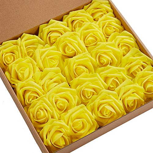 N&T NIETING Roses Artificial Flowers, 25pcs Real Touch Artificial Foam Roses Decoration DIY for Wedding Bridesmaid Bridal Bouquets Centerpieces, Party Decoration, Home Display (Yellow)