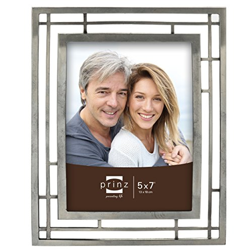 PRINZ Elston Antique Pewter Metal Frame, 5 by 7-Inch (Pewter Photo)