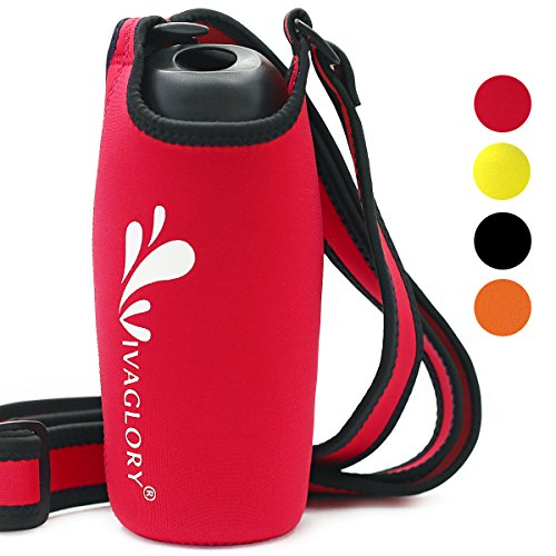 Vivaglory Water Bottle Sling, Lightweight and Super Soft Neoprene Bottle Holder with Adjustable Wide Shoulder Strap and 3.94 inch Diameter for Outdoor Activities