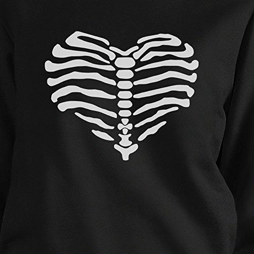 Printing manga larga Size One de 365 Sudadera Skeleton Black Heart para mujer qtIwcdcf