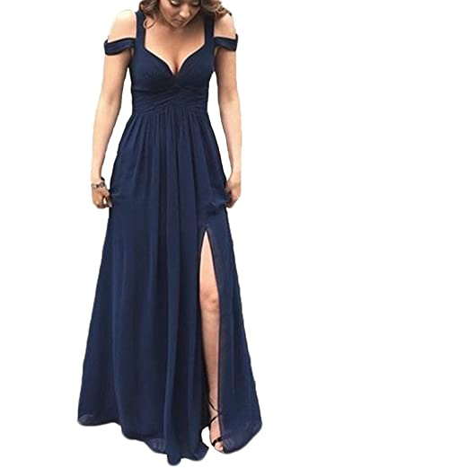 Cheap Bridesmaid Dresses Sweetheart Long Wedding Guest Prom Dress Split Front Chiffon