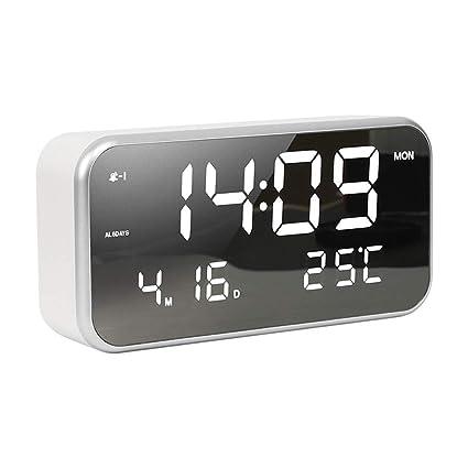 ANIUXIAOGE Pantalla LED Relojes Digitales Multifuncional Mudo Despertador 25 música, Visualización de Fecha y Temperatura