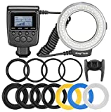 Wal front Macro LED Ring Flash Light with LCD Display Adapter Rings and Flash Diffusers for Nikon Canon Olympus Sony