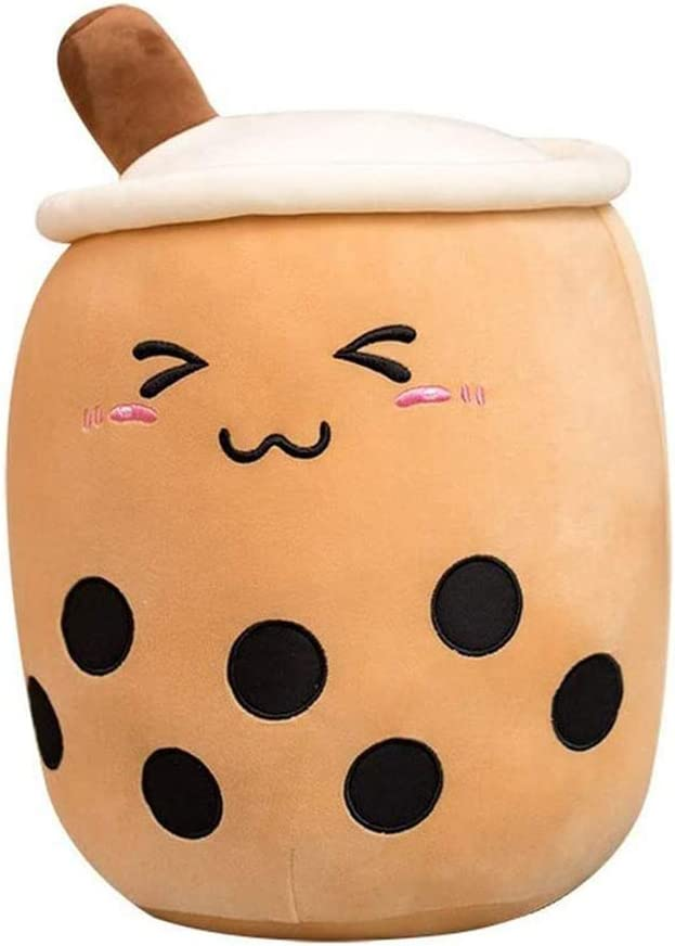 KEDE Bubble Tea Plush Pillow Stuffed Cartoon Cylindrical Body Pillow Cup Shaped Pillow,Super Soft Hugging Lifelike Back Plush Food (Brown Triangle Eyes,9.4''/24cm)