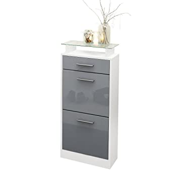 Shoe Cabinet Organiser Shoe Rack Loret V2, Carcass In White Matt / Front In  Grey Part 32