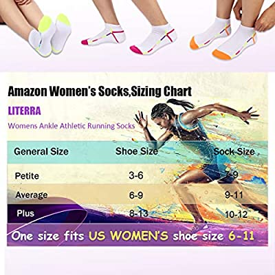 LITERRA Womens Ankle Low Cut Socks with Cushion for Athletic, Sport and Casual Use (6 Pack) at Women's Clothing store
