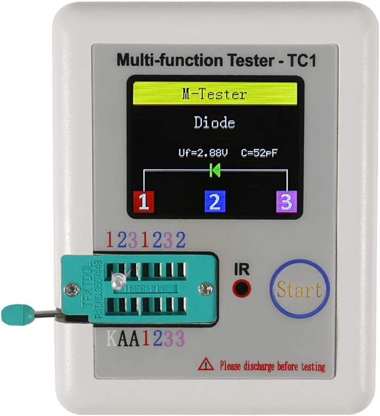 Transistor Tester LCR-TC Full Color Graphic Display for Automatic Detection of NPN and PNP Transistors IOIOA Transistor Tester