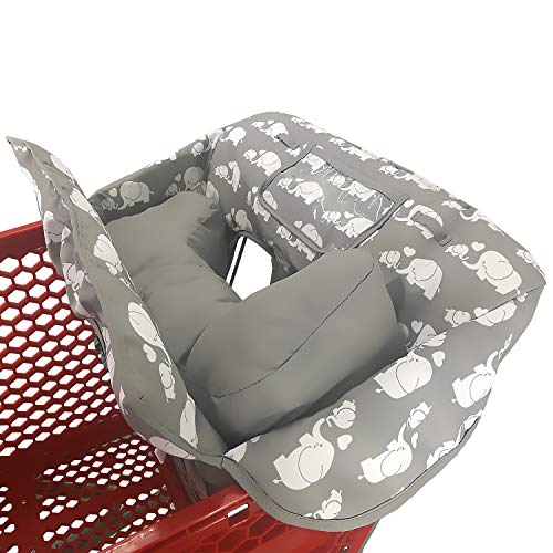 Soft Pillow Attached 2-in-1 Shopping Cart and High Chair Cover for Baby~Padded~Fold'n Roll Style~Portable with Free Carry Bag (Elephant)