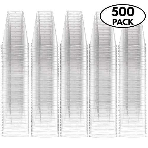 500 Pack - 2oz Disposable Hard Plastic shot Glasses, extra large size - volume 60ml