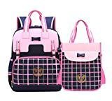 AGOWOO Decompression Kids Girls Elementary School Backpack Set with Purse Large Pink