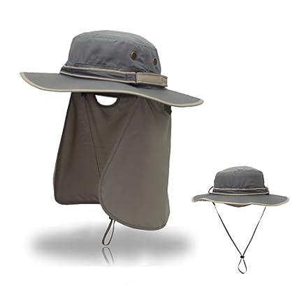 e0469fb7bb688 Amazon.com   Sun Hat with Neck Flap Cover for Men Women