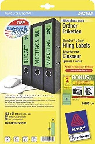 Carpeta de etiquetas para archivadores de ancho, corta, Verde, 192 x 61 mm