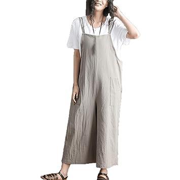 Moonuy Las mujeres sólidas tejidas sueltas mono traje pantalón ...