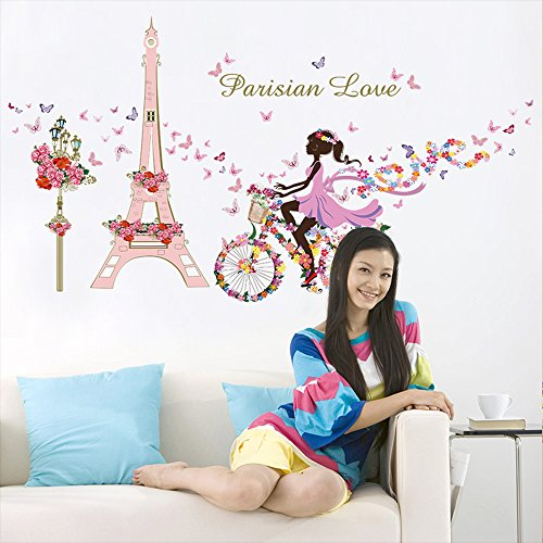 Kaimao Sweet Romance Fairy Princess Flower Butterfly Wall Stickers Pink Home Decor Decals For Girls' Room Decoration