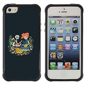 Be-Star único patrón Impacto Shock - Absorción y Anti-Arañazos Funda Carcasa Case Bumper Para Apple iPhone 5C ( Skull Redhead Girl Drawing Blue Spring )