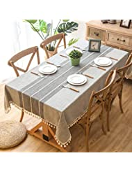 Crossoft Modern Stitching Tassel Tablecloths Linen Cotton Fabric Dust-Proof Table Cover Kitchen Dinning Tabletop