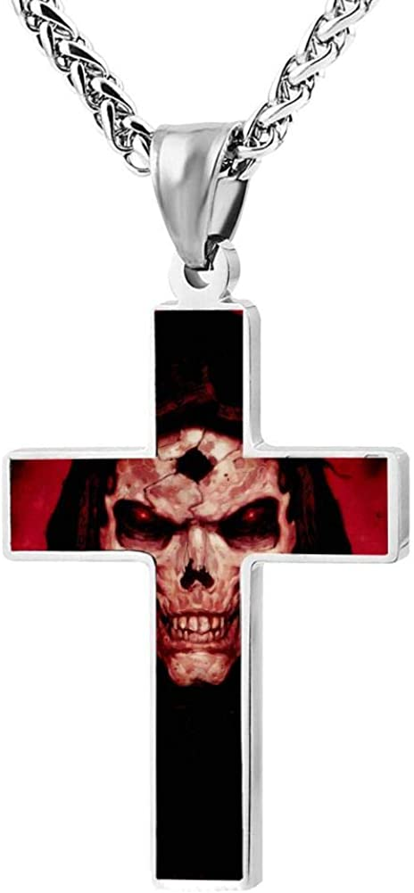 Quensk Horrible Skull Cross Necklace Christ Necklace Pendant Cross Prayer Fashion Accessories for Men Women