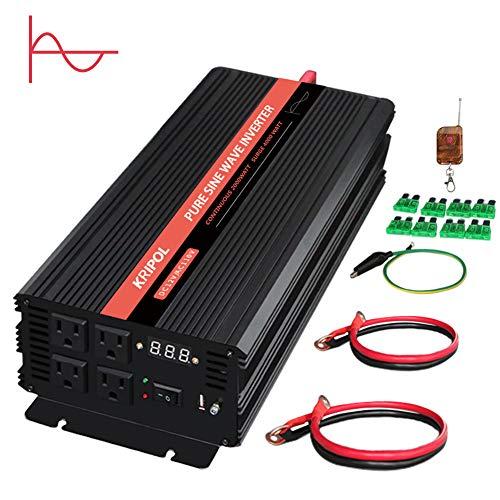 KRIPOL 2000 Watt Pure sine Wave Inverter 12v to 110v Car Power Inverter with Four AC Outlets & 1 USB Output Power Battery Converter