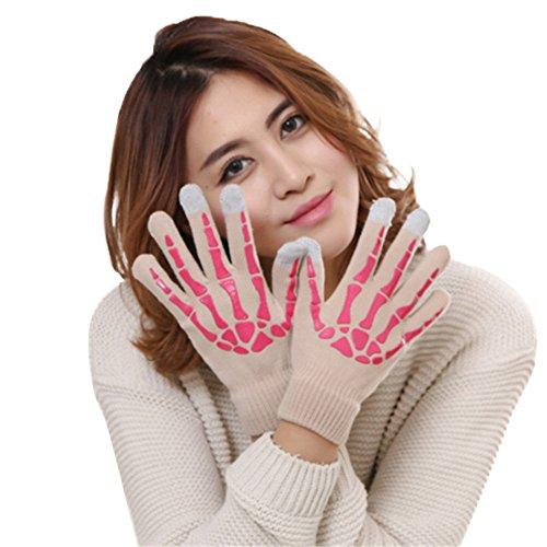 Women Wool Skull Claw Bone Flip Keep Warm Gloves by Teresamoon