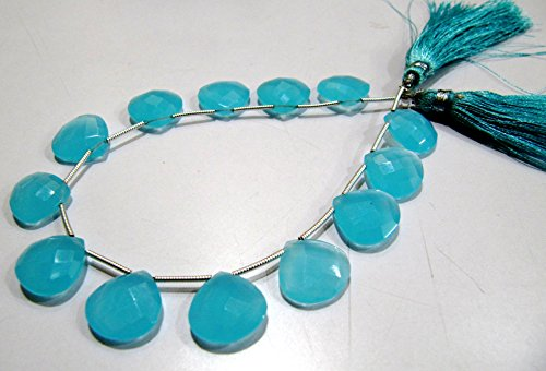 - Aqua Chalcedony Briolette 14-15mm, Hydro Quartz Chalcedony Faceted Heart Briolette 12 to 13 beads, 8 inches Strand- Gemstone Beads