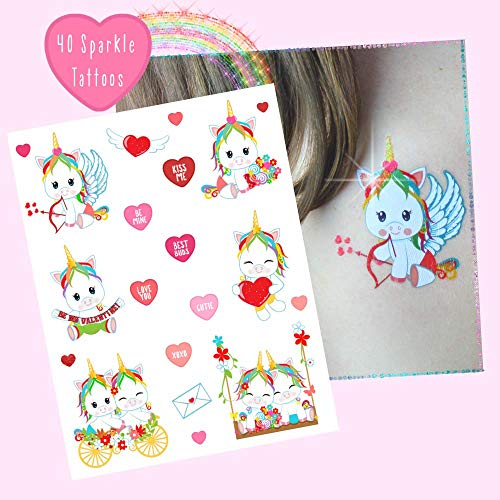 Unicorn Glitter Tattoos - 40 Pack - Valentines Day Party Favors + Decorations - Party Supplies- Temporary Tattoos - Kids + Adults -