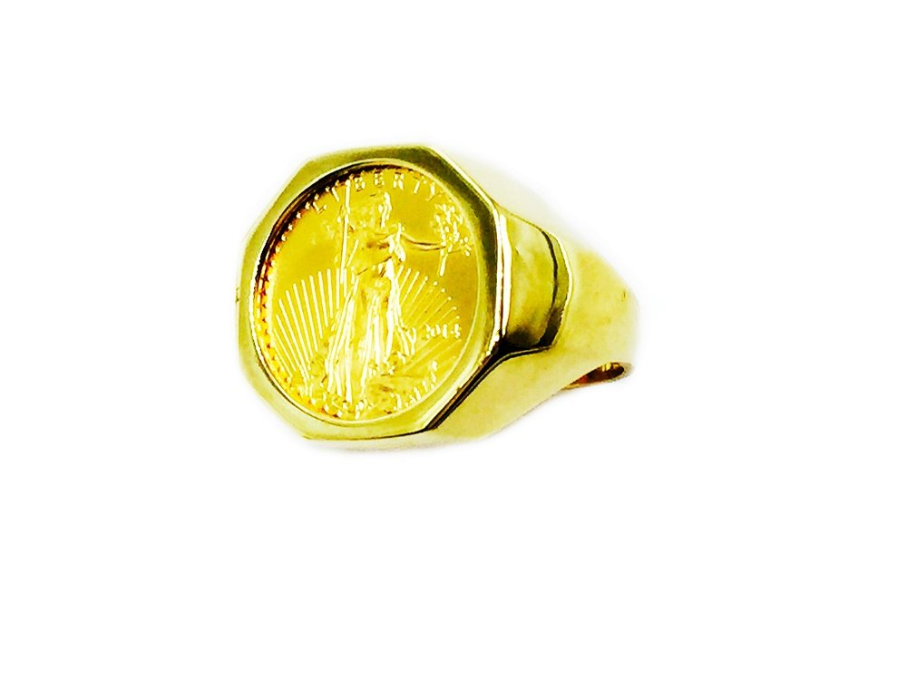22K Fine Gold 1/10 Oz Us Liberty Coin In 14K Yellow Gold Mens Ring 20 Mm 11 Grms Random Year Coin