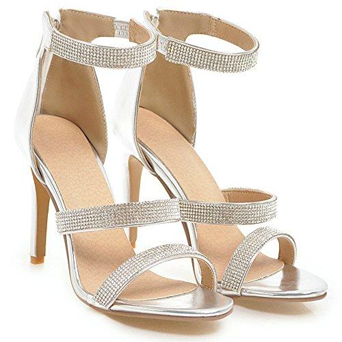 Sandales Haute Talons Strass Strappy Brevet Cheville Strap Stilettos Chaussures De Mariage Femmes Plus La Taille Argent xaIrdwMMs