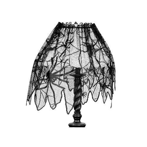 Yalulu 60x20inch Halloween Decoration Black Lace Spiderweb Fireplace
